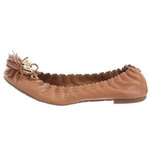 Tory Burch Reese Leather Ballet Flats in Royal Tan